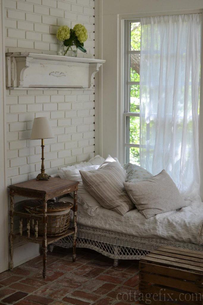 Cottage Fix blog - vintage mantle on our sun porch