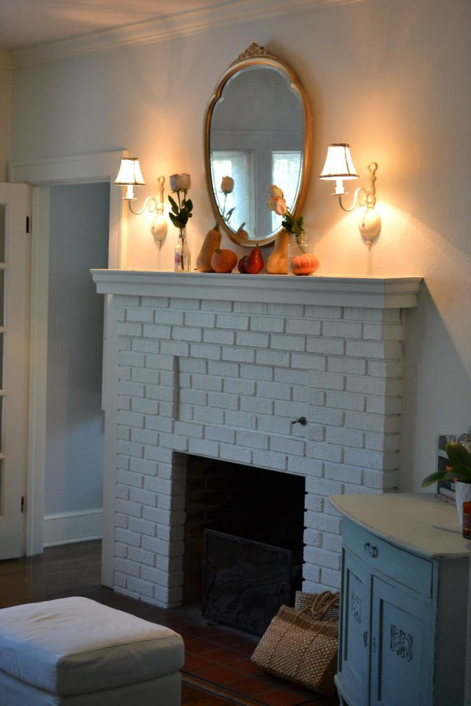 Cottage Fix blog - Autumn mantel, cottage style