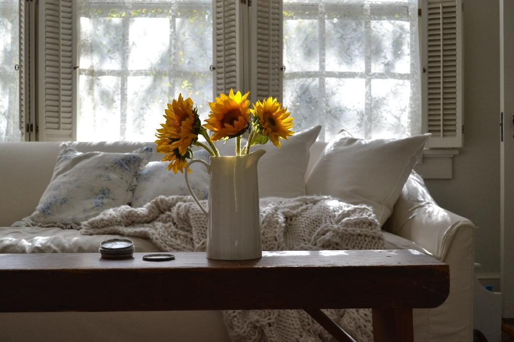 Cottage Fix blog - sunflowers and ivory sofa