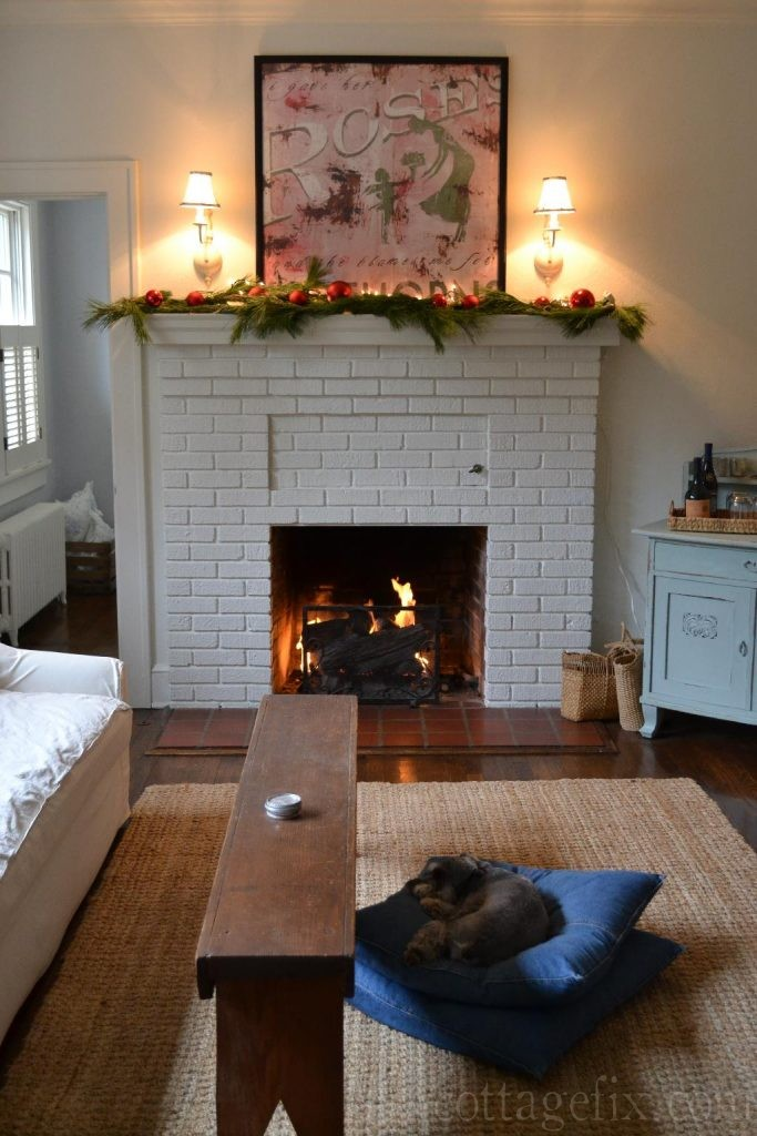 Cottage Fix blog - Christmas mantle with pine and vintage red baubles