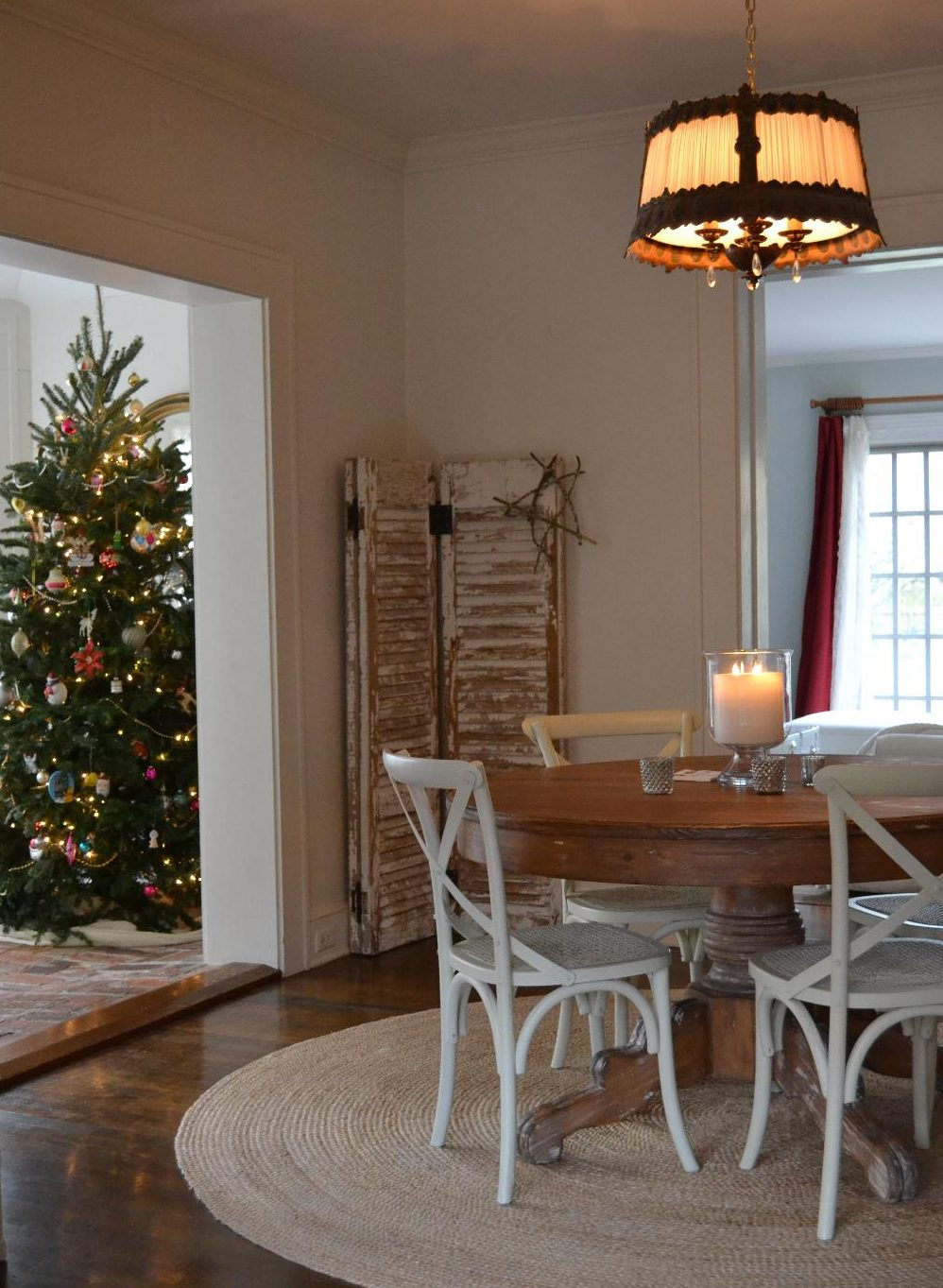 Cottage Fix blog - dining room and sun porch decked out for the holidays