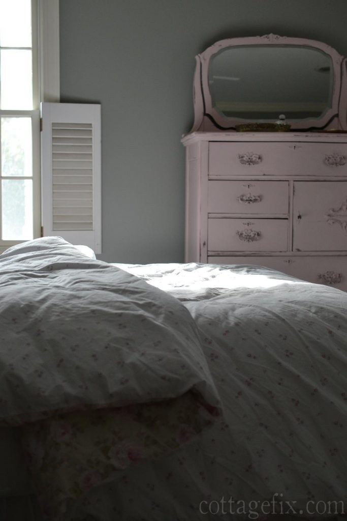 Cottage Fix blog - cottage bedroom with pink and gray color palette
