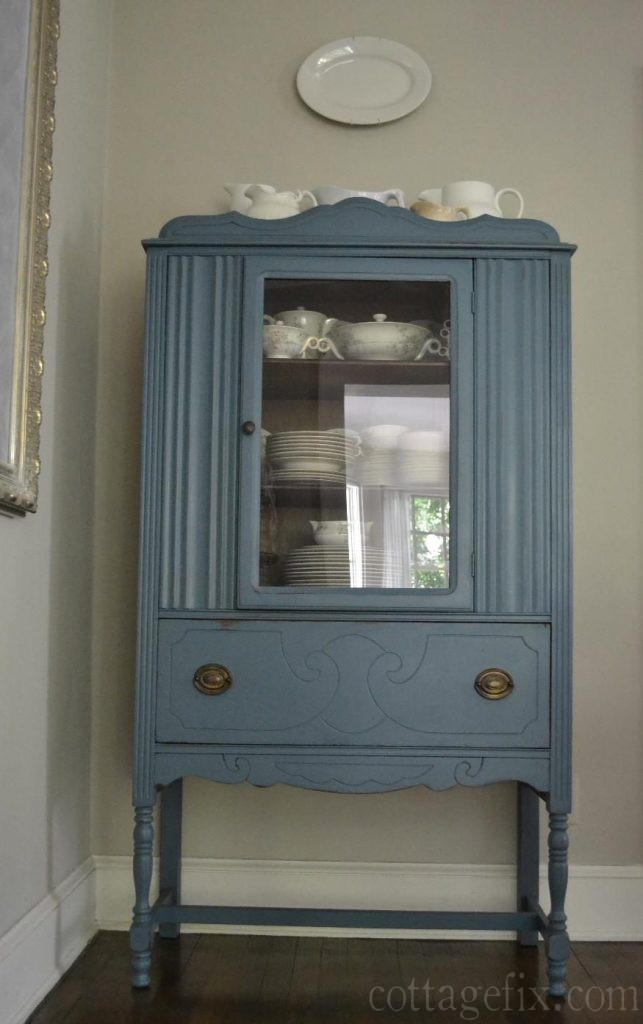 Beautiful Aubusson Blue Painted Hutch