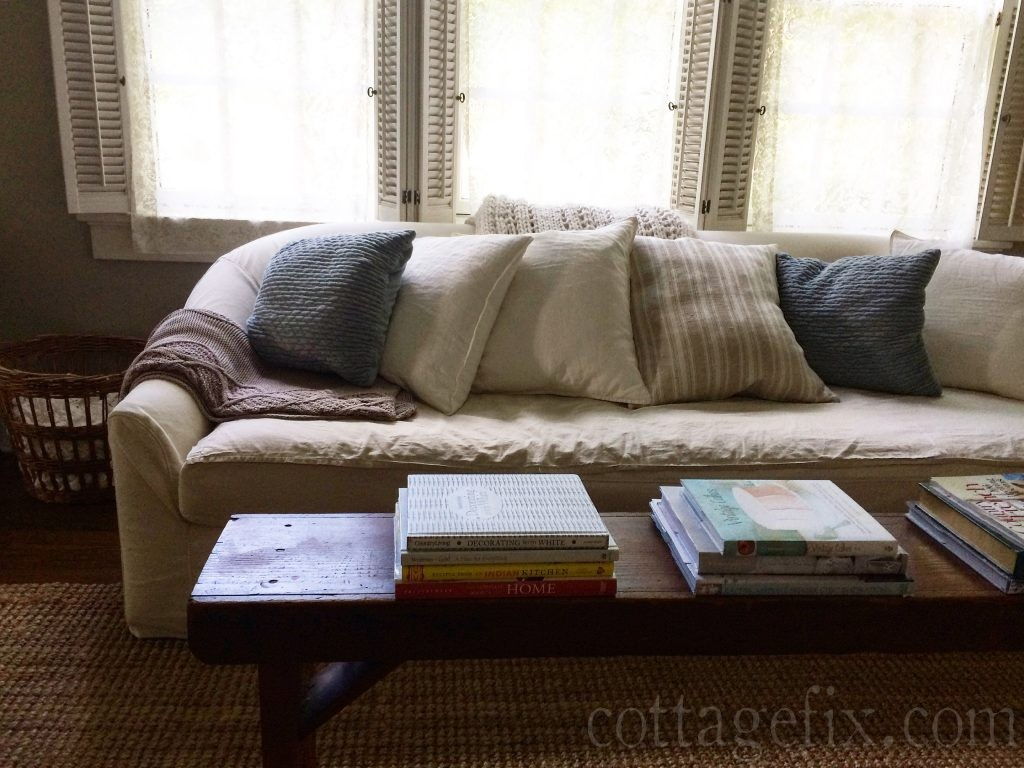 Cottage Fix blog - blue pillows and white sofa