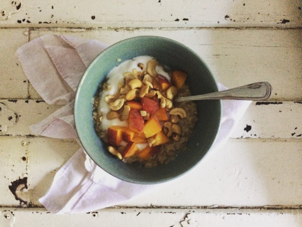 Cottage Fix blog - oats, cashews, and Carolina peaches