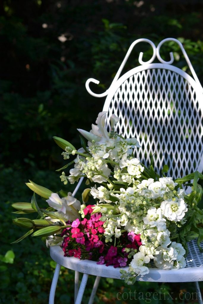 Cottage Fix blog - flowers and white garden chair