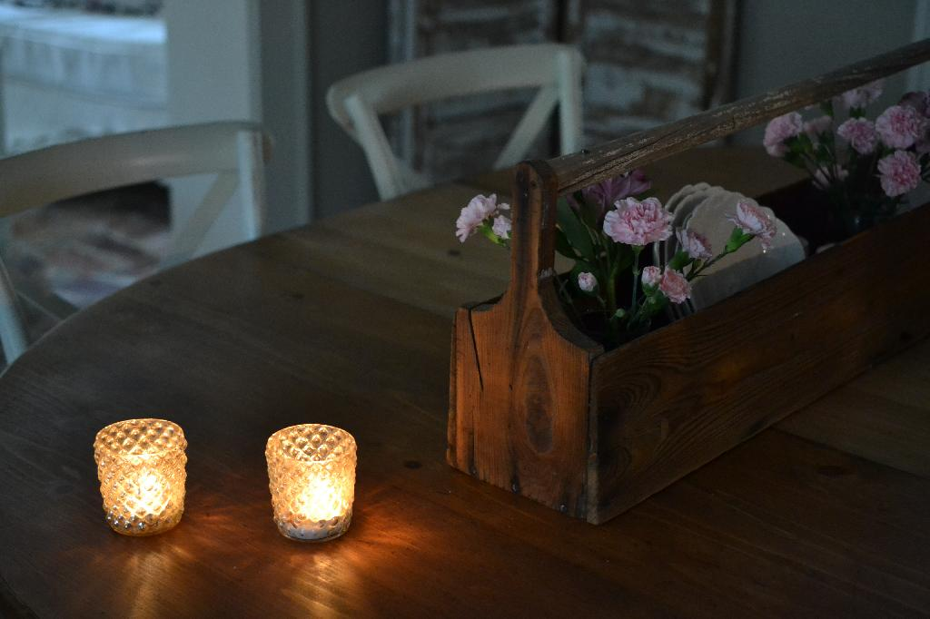 Cottage Fix blog - wooden toolbox and candlelight
