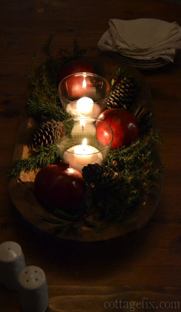 Cottage Fix blog - dough bowl Christmas centerpiece