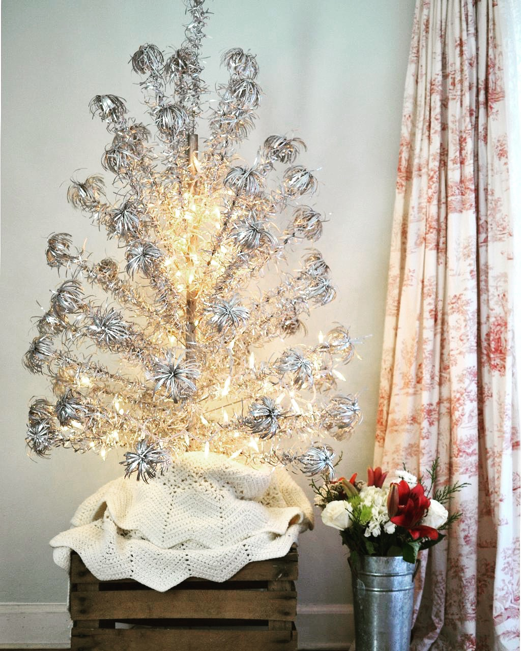 Cottage Fix blog - Christmas 2018 silver pom pom tree