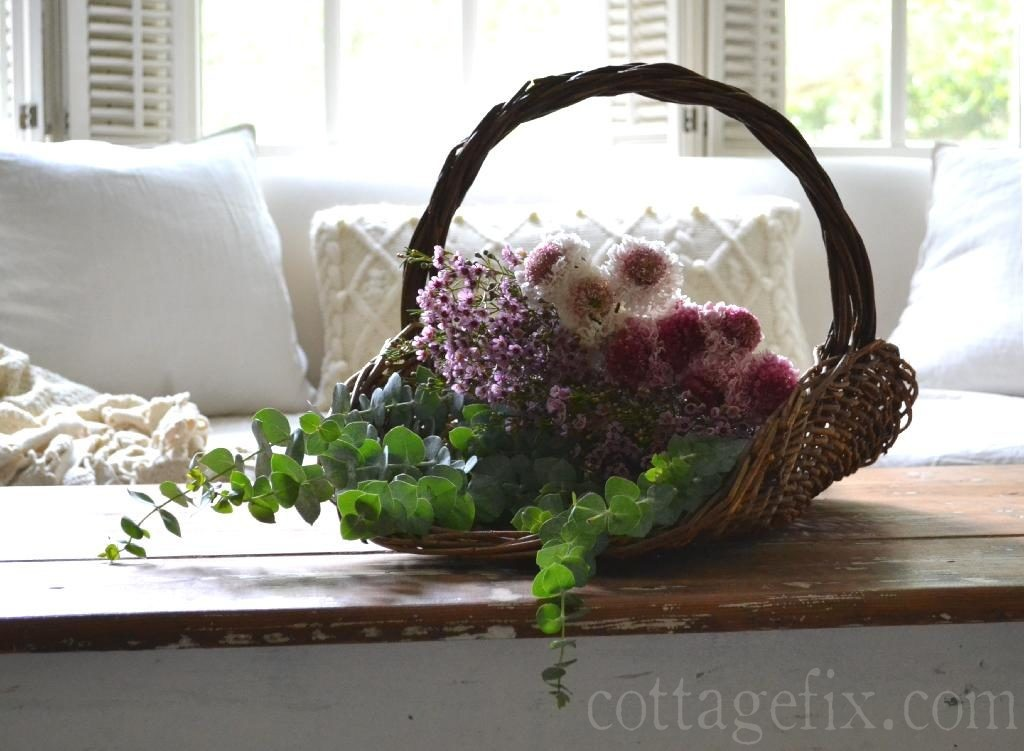 Cottage Fix blog - gathering basket and bright blooms
