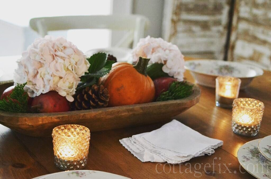 Cottage Fix blog - romantic fall centerpiece with pumpkins, flowers, pears, and pine cones.