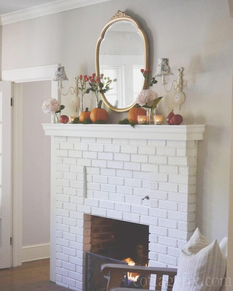 Cottage Fix blog - romantic fall mantel in our living room