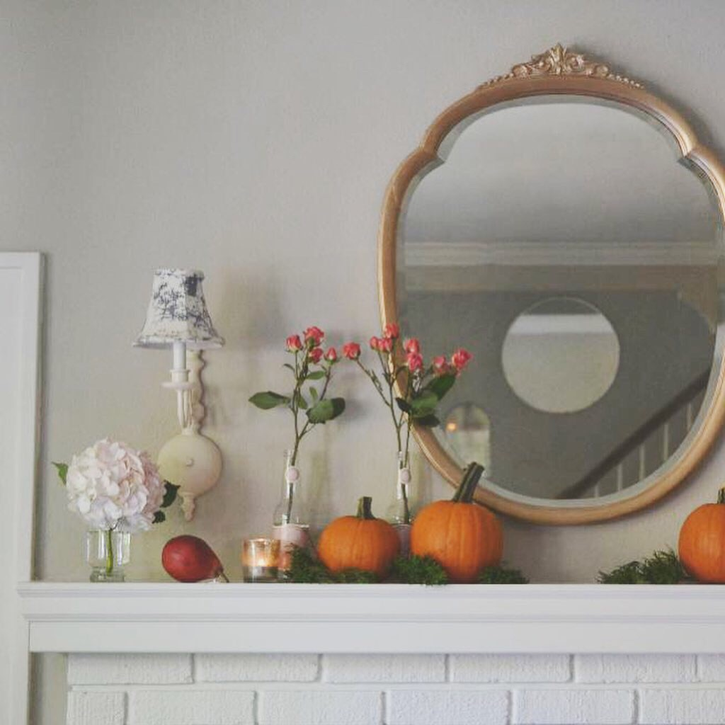 Cottage Fix blog - romantic fall mantle with pumpkins, flowers, and pears
